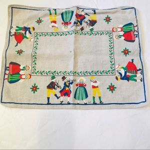 Vintage linen placemat with cute Dutch images